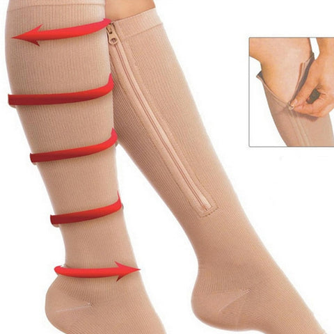 Women Zipper Compression Leg Sock