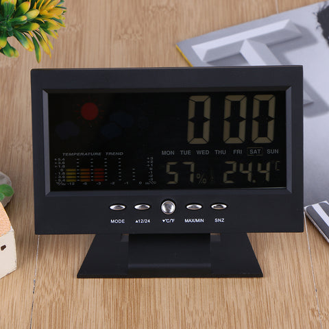 Image of Voice Control Digital Thermometer & Weather Station Alarm Clock
