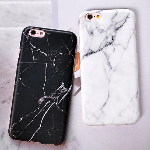 Image of Black White Marble Painted Case For iphone