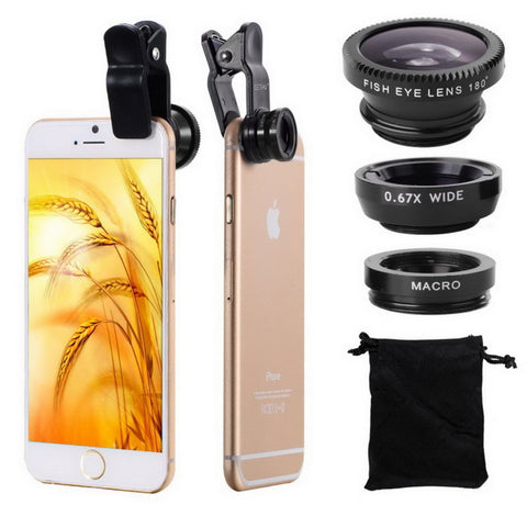 3 in 1 Wide Angle Macro Fisheye Lens Kit + Clip
