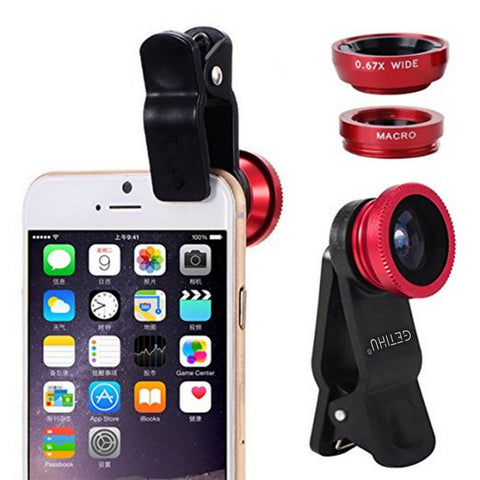Image of 3 in 1 Wide Angle Macro Fisheye Lens Kit + Clip