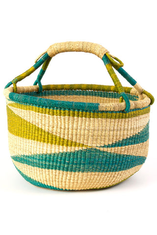 Ghanaian Blue & Green Diamond Pattern Bolga Basket