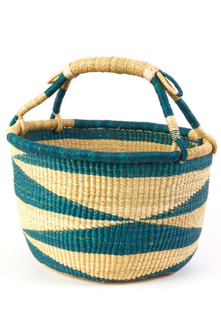 Ghanaian Blue and Natural Diamond Pattern Bolga Basket