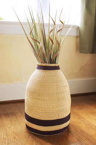 Blue Striped Elephant Grass Bell Basket
