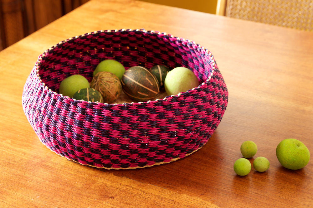 "12"" Pink & Plum Checkered Bread Basket"