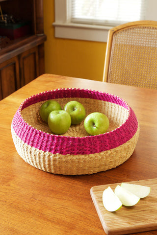 "14"" Pink Rim Bread Basket"