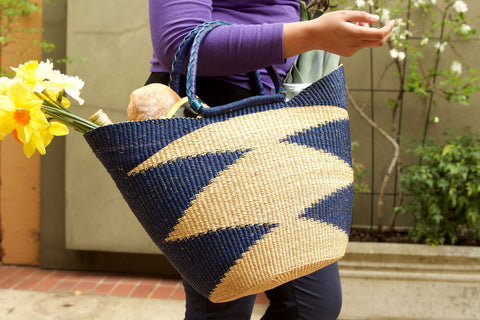 Blue Ghanaian Wing Shopper with Leather Handles