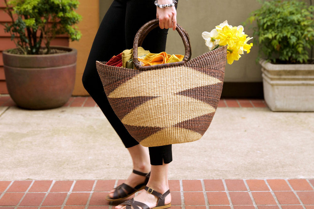 Brown Ghanaian Wing Shopper with Leather Handles