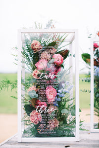 wedding seating chart display by cottonwood print design co