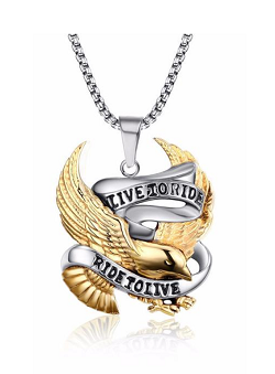 Men's Stainless Steel ( LIVE TO RIDE ) Necklace