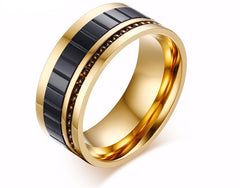 Men's Gold Plated 10MM Wide Fashion Titanium Steel Ring