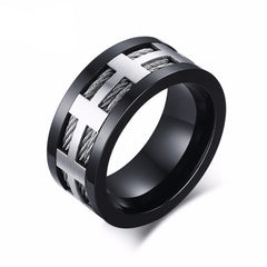 Black Cross Charm Stainless Steel Wire Spike Ring