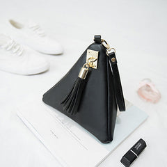 Designer Triangle Leather Cosmetic Bag