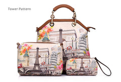 3 pcs printed handbags