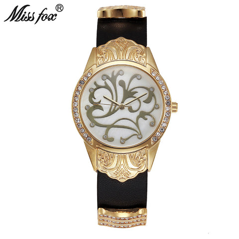 Miss Fox Gold Watch Women Dress Flower