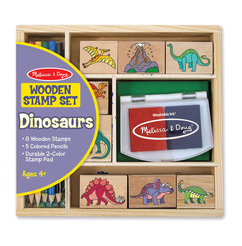 Melissa & Doug - Wooden Stamp Set - Dinosaurs