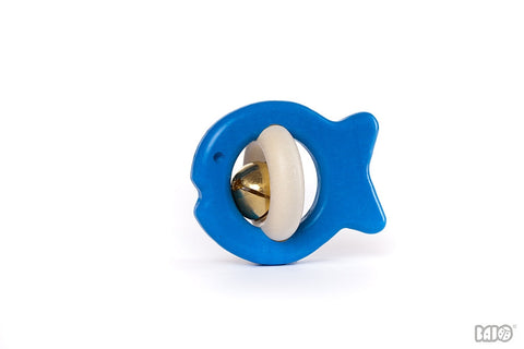 Bajo - Wooden Rattle - Fish - Blue