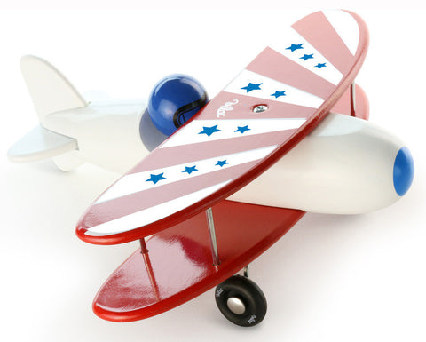 Vilac - Biplane Wooden Plane - White / Red