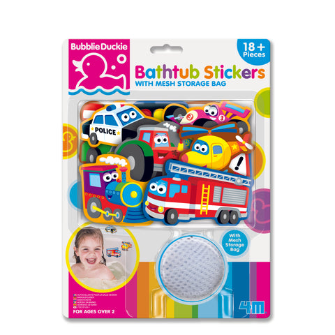 4M - BubblieDuckie - Bathtub Stickers - Transportation