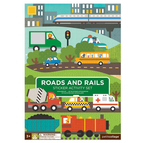 Petit Collage - Sticker Activity Set - Roads and Rails