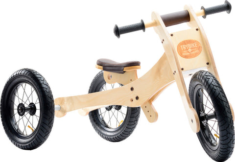 Trybike - Wooden Tricycle Balance Bike - Brown