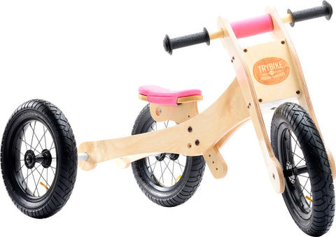 Trybike - Wooden Tricycle Balance Bike - Pink