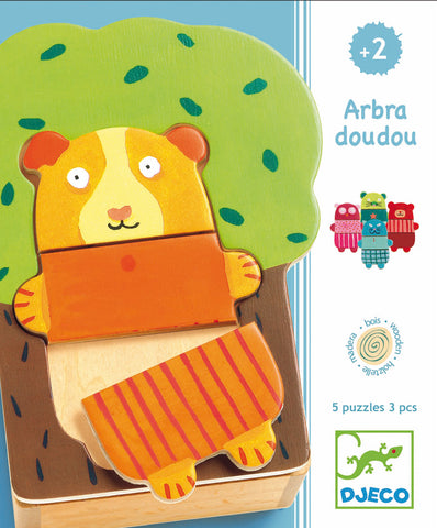 Djeco - Wooden Game- Tree Cuddly Arbra Doudou