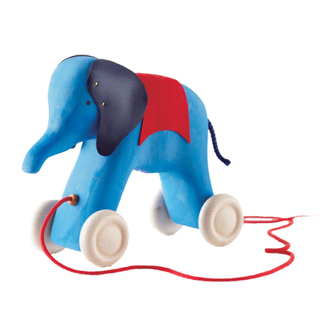 Grimm's - Wooden Elephant Pullalong - Blue