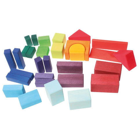 Grimm's - Coloured Wooden Blocks - 30 pcs