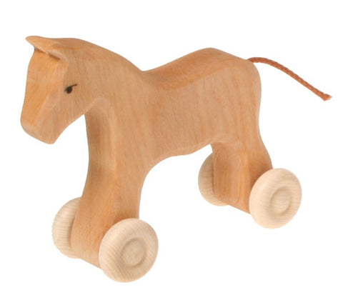 Grimm's - Small Wooden Horse on Wheels