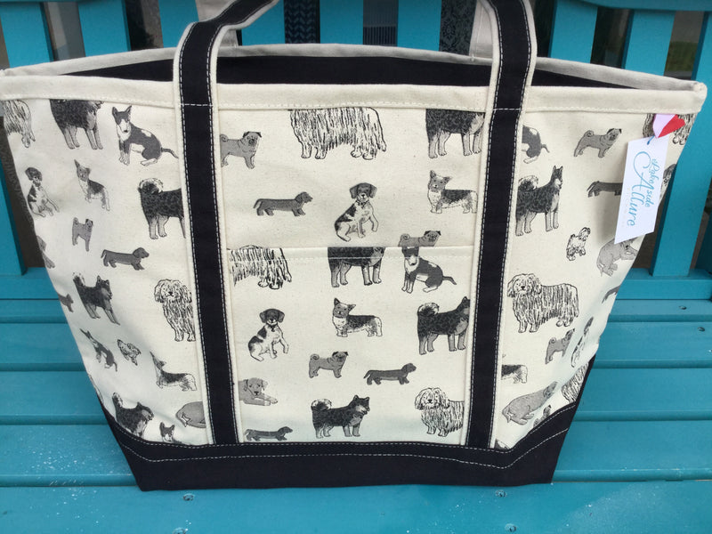 Shorebag Boat Tote - Dog Print w/Black Trim