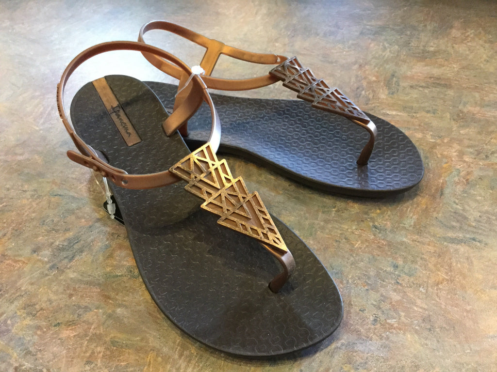 Ipanema Deco Strap Sandal - Brown w/Gold