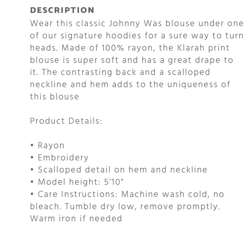 Johnny Was Klarah Print blouse