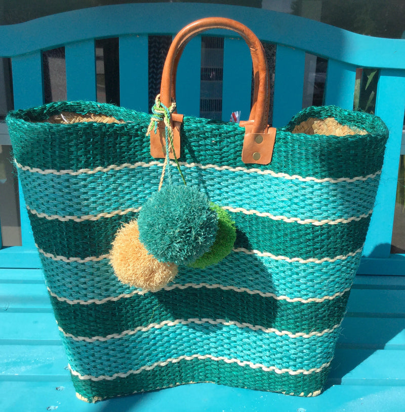 mar y sol jute tote w/teal and turquoise stripes