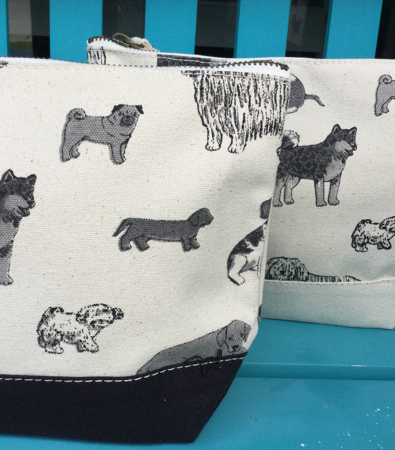 Shorebag All In Pouch - Dog Print w/Natural Trim