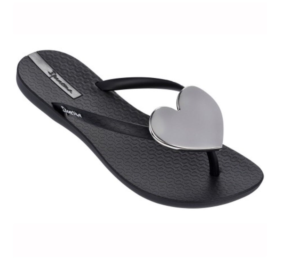 Ipanema Wave Heart Flip Flop - Black