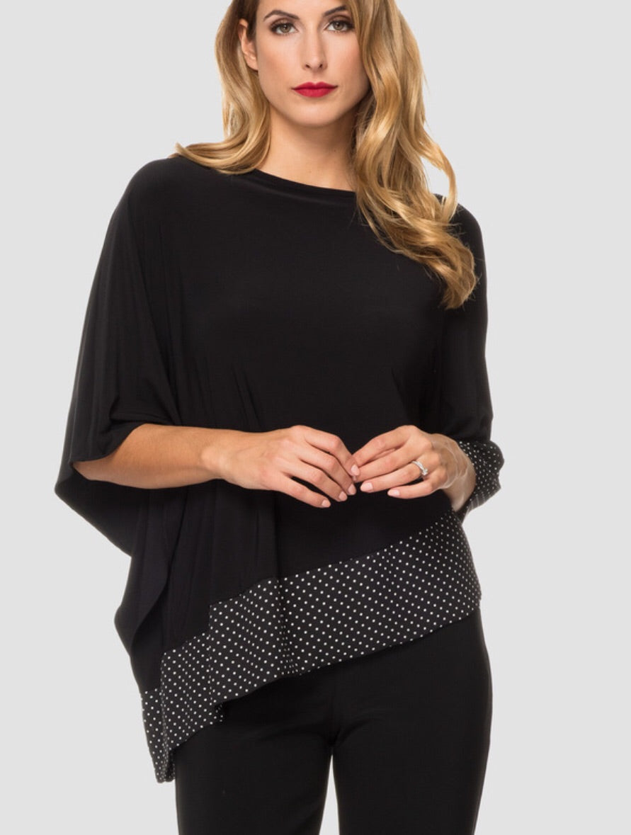 Joseph Ribkoff Off the Shoulder Polka Dot/Black Style #191608