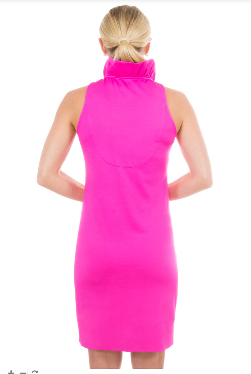 Gretchen Scott Jersey Ruffneck Sleeveless Dress - Pink