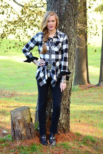 Buffalo Plaid Shirt w/Faux Suede Trim