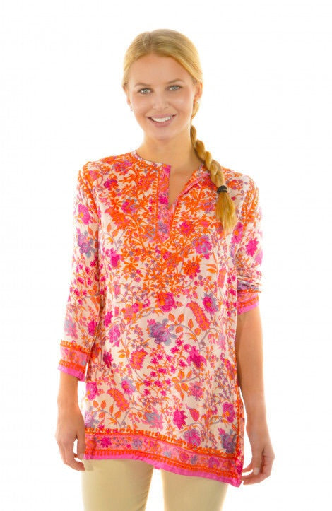 Gretchen Scott Silk Embroidered Tunic Tuesmi/Full Bloom