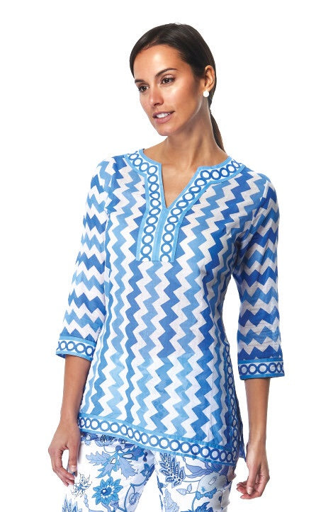 Gretchen Scott Zig Zag Blues Tunic