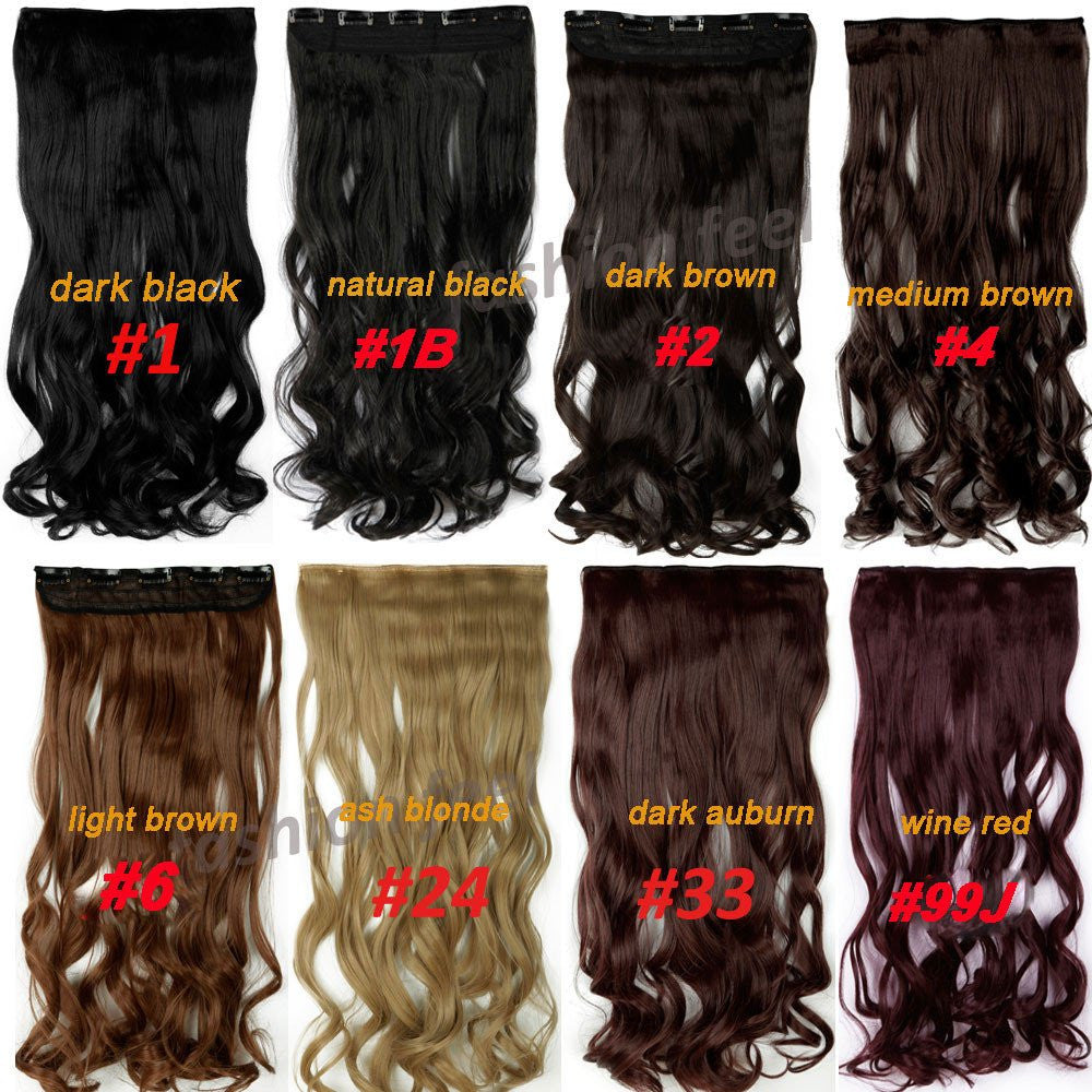 Fashion Looks Natural Curlystraight Long Clip In Hair Extension