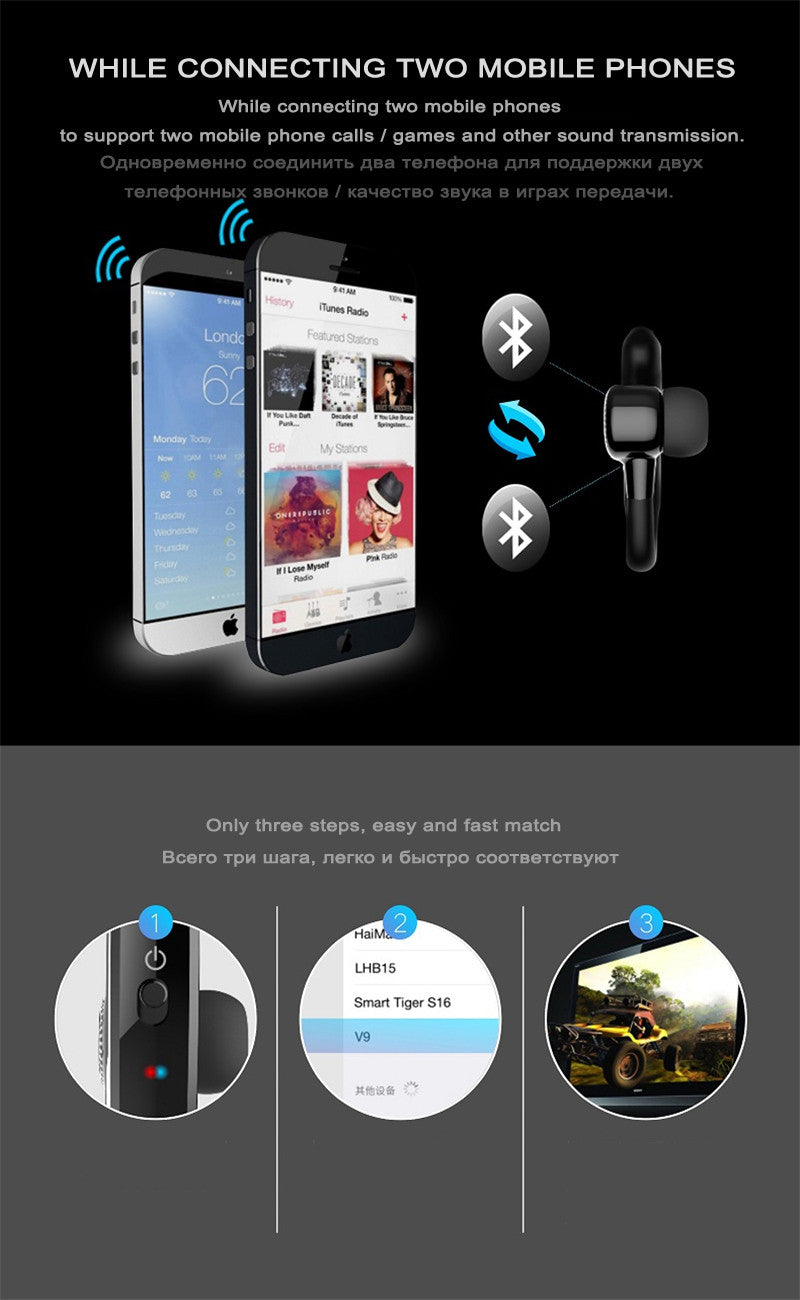 Handsfree Business Noise Cancelling Bluetooth Headphone 6
