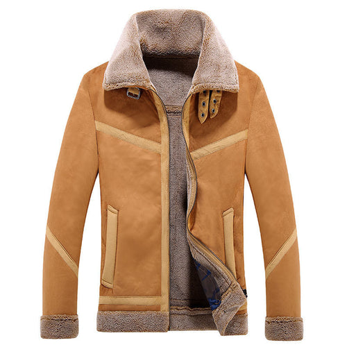 Gradient Lapel Suede Men's Parka Jacket