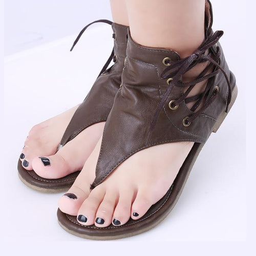 Casual Pleated Lace Up Flat Sandals