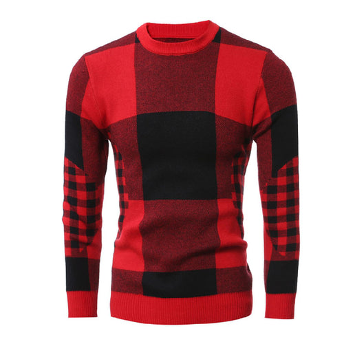 Thickened Plaid Color-blocked Pullover Round Neck Men's Sweater
