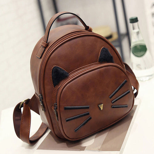 Fashion Women Leather Cute Cat Backpack