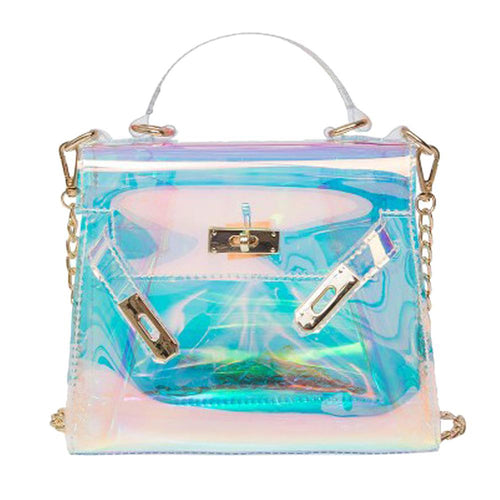 Women Transparent Laser Chain Clear Messenger Handbag