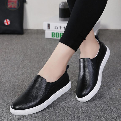 Casual Solid Leather Women's Slip On Loafer