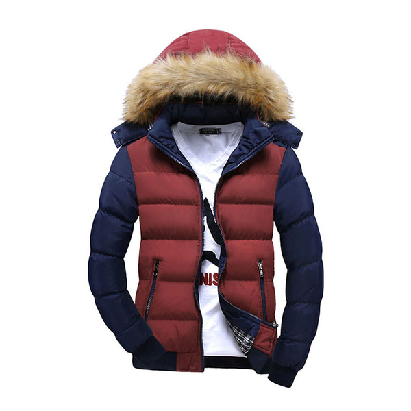 Patchwork Fur Collar Without Red Shirt Men's Down Coat